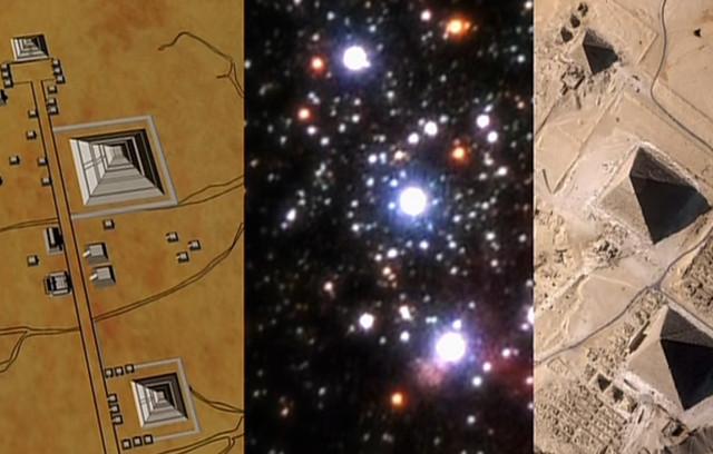 メキシコのピラミッドとエジプトのピラミッドとオリオン座の三ツ星を並べた画像