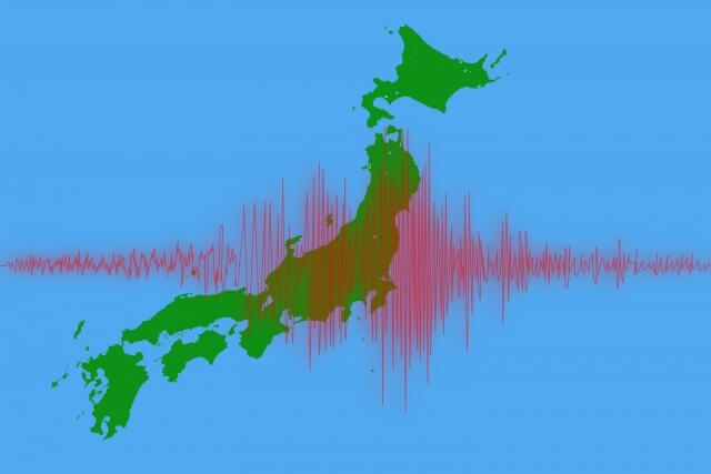 日本列島と地震波形の画像