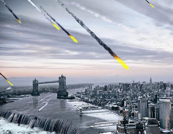 隕石が降ってくるイメージ画像