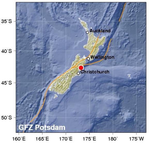 ニュージーランド地震の震源地