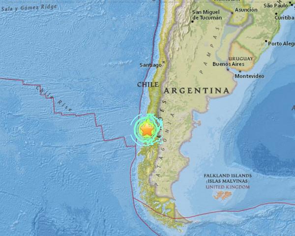 チリ地震の震源