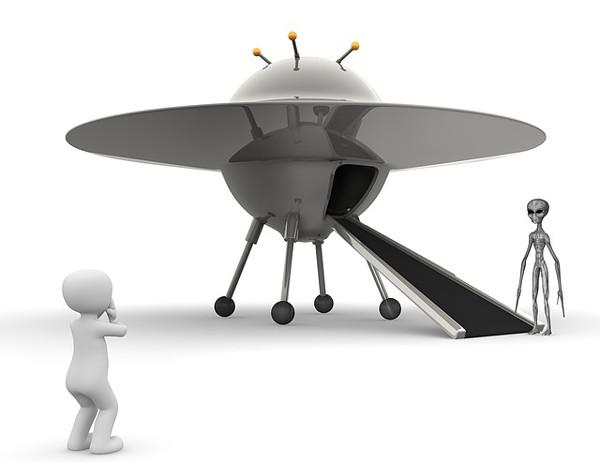 UFOと宇宙人のCG画像