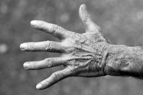 老いたシワのある手の画像