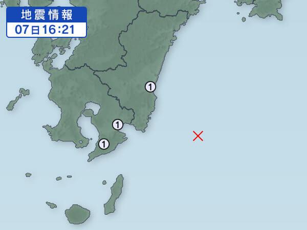 日向灘の地震情報の画像
