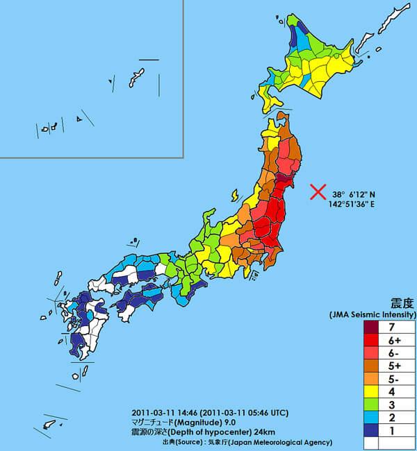東日本大震災発生時の地図および震度