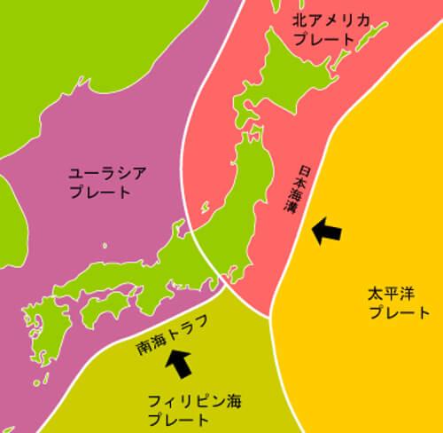 日本列島のプレート図