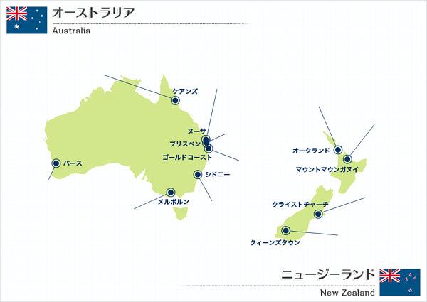 オーストラリアとニュージーランドの地図