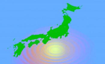 日本列島と地震のイラスト