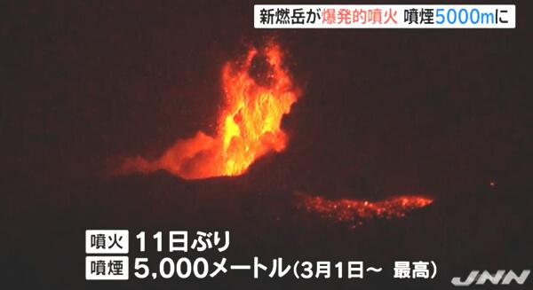 新燃岳の噴火の写真