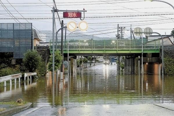 山形県で発生した水害の写真