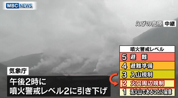 硫黄山のニュース映像の写真