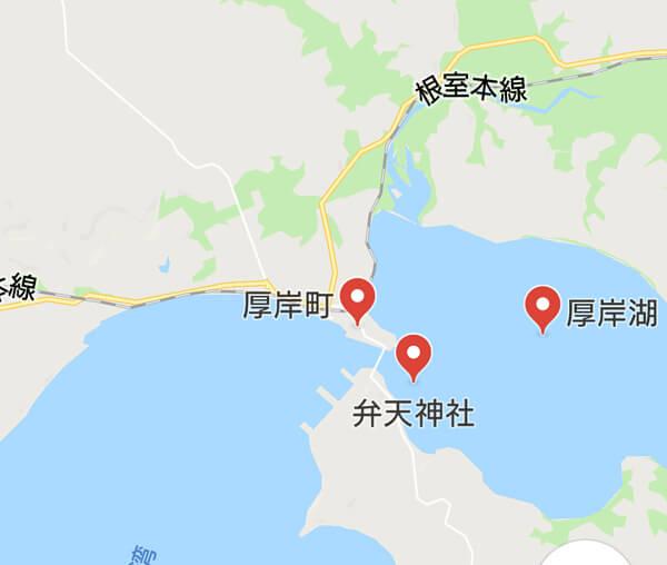 厚岸湖周辺の地図
