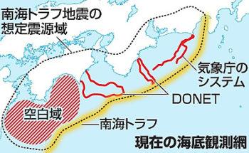 南海トラフの前兆監視エリアの図