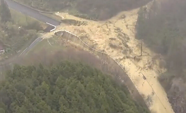 島根地震で発生した土砂崩れ
