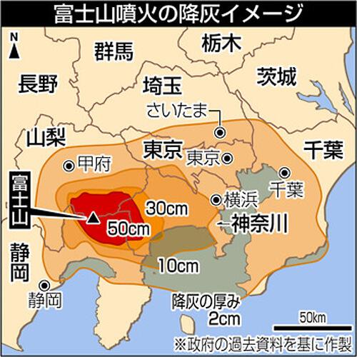 富士山噴火による降灰の予想量の画像
