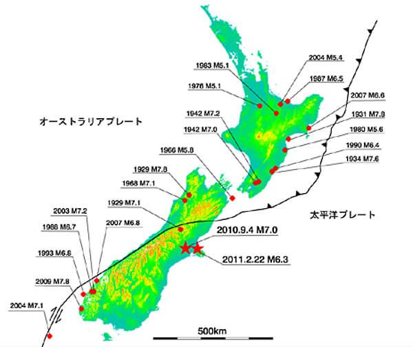 ニュージーランドのプレート図