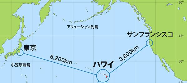 日本とハワイ諸島とアメリカ大陸の地図