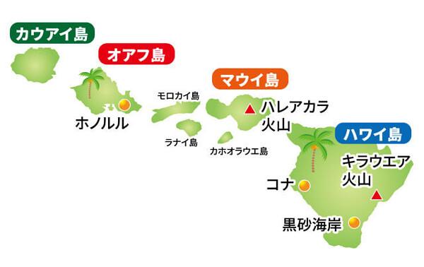 ハワイ諸島の地図