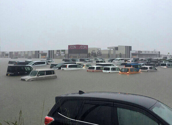 AEON小郡店が水没した時の現地写真