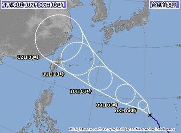 台風の進路図の画像