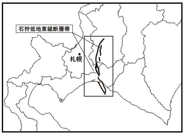 石狩低地東縁断層帯の地図