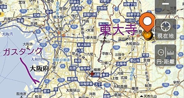 東大寺との位置関係の写真