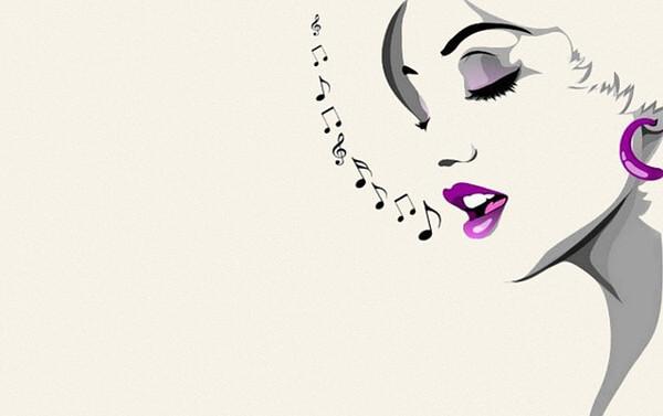 歌っている女性のイラスト