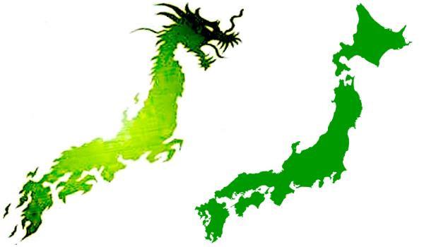 日本列島と龍のイラスト