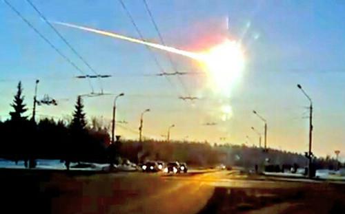 ロシアに落下した隕石の写真