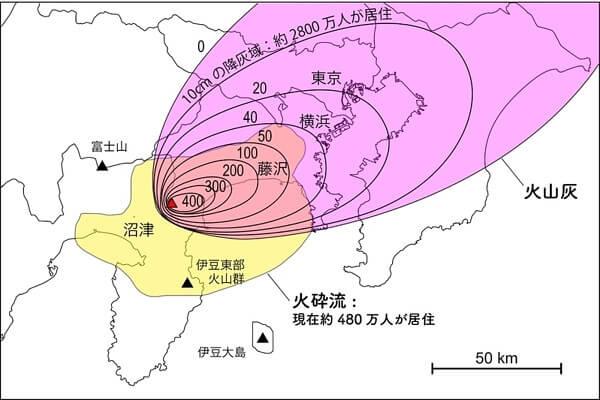 箱根山噴火にともなう火砕流と火山灰の到達範囲