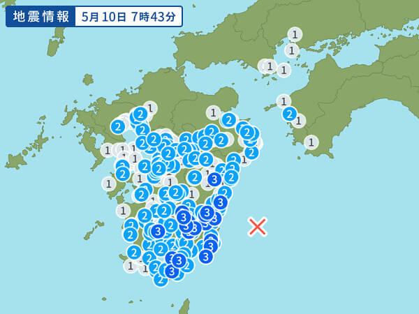 地震情報の画像(日向灘 M5.6)