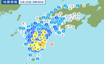 地震情報の画像(日向灘)