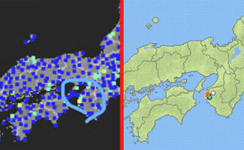 強震モニタと地震情報の画像