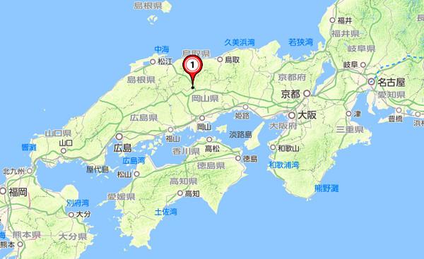 中国・山陰地方の地図
