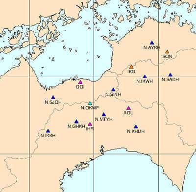 地震計の観測地点の地図