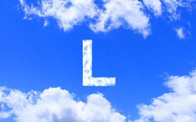 L字の雲のイラスト