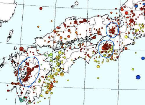 西日本の地震震度分布図