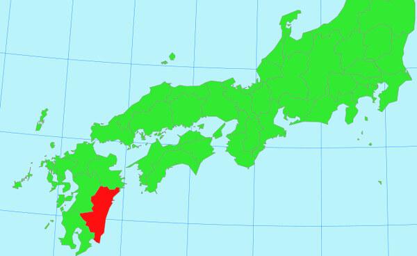 九州の地図(宮崎県)