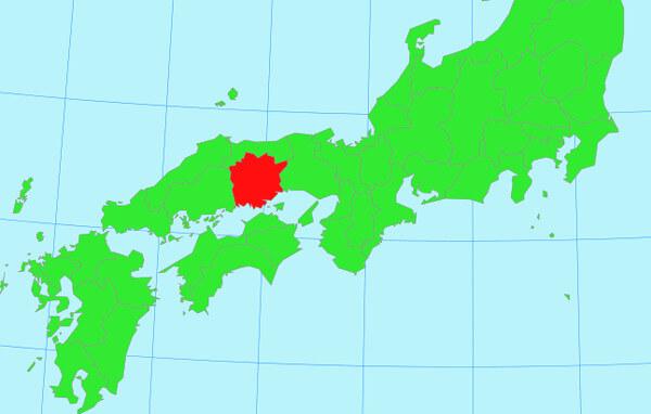 西日本の地図(岡山県)
