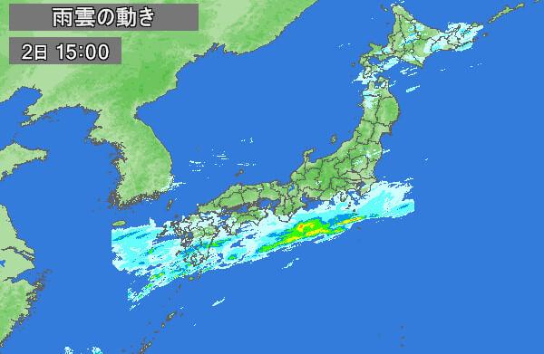 雨雲レーダーの画像