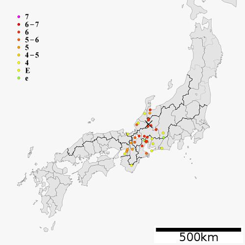 天正大地震の予想震度の画像