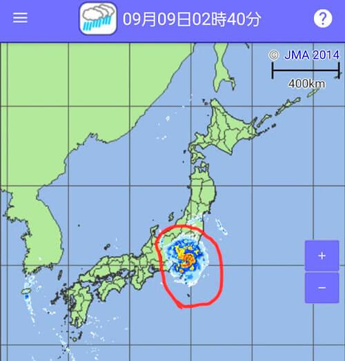 台風15号の天気図