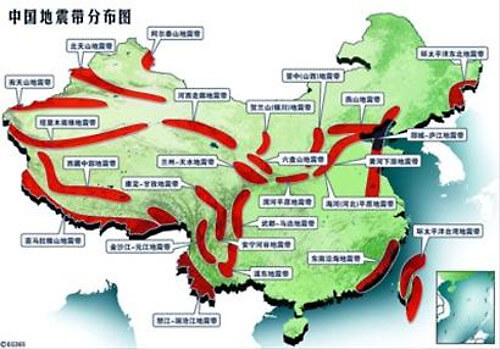 中国の断層帯分布図