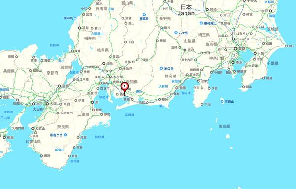 東海地方の地図