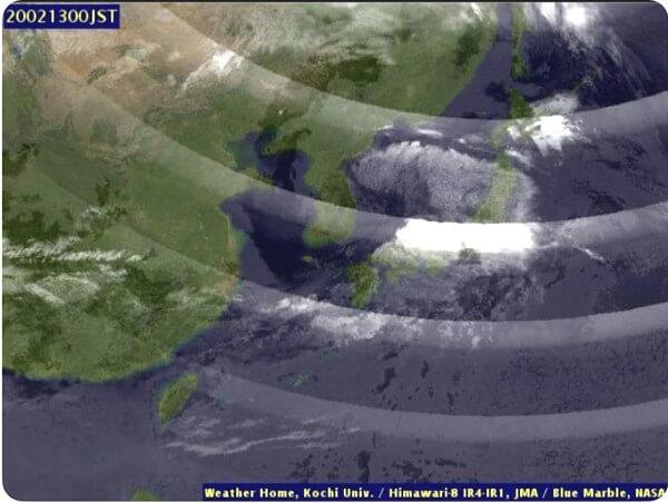 日本付近短波長赤外差分画像
