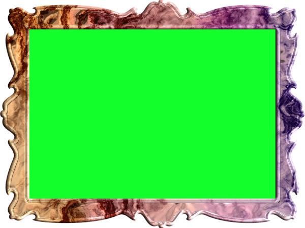 額縁(フレーム)のイラスト緑色