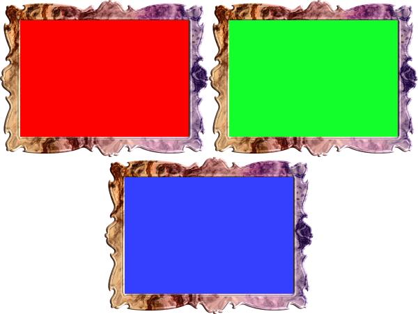 額縁(フレーム)のイラスト赤・緑・青