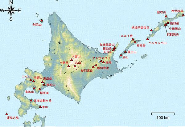 北海道の火山マップ