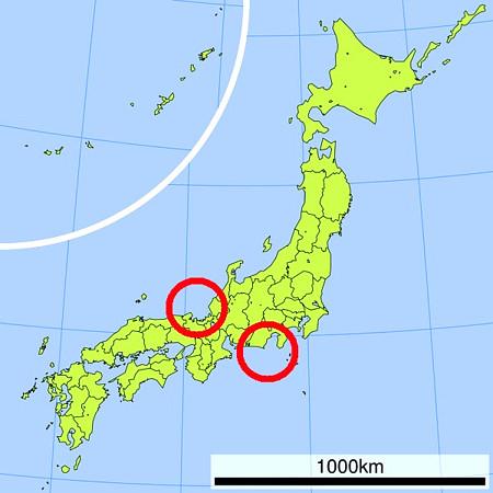 予知夢で見た地震が起こる場所を示した地図