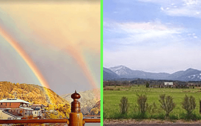 彩雲とダブルレインボーの写真